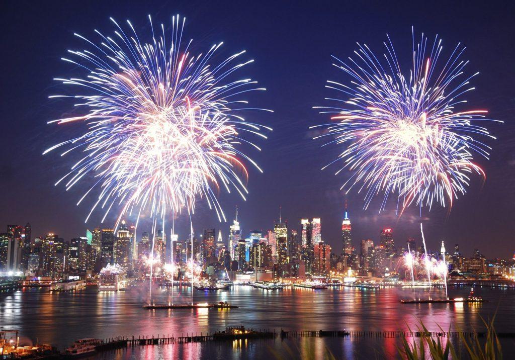 NYC 4th of July Fireworks Night Skyline