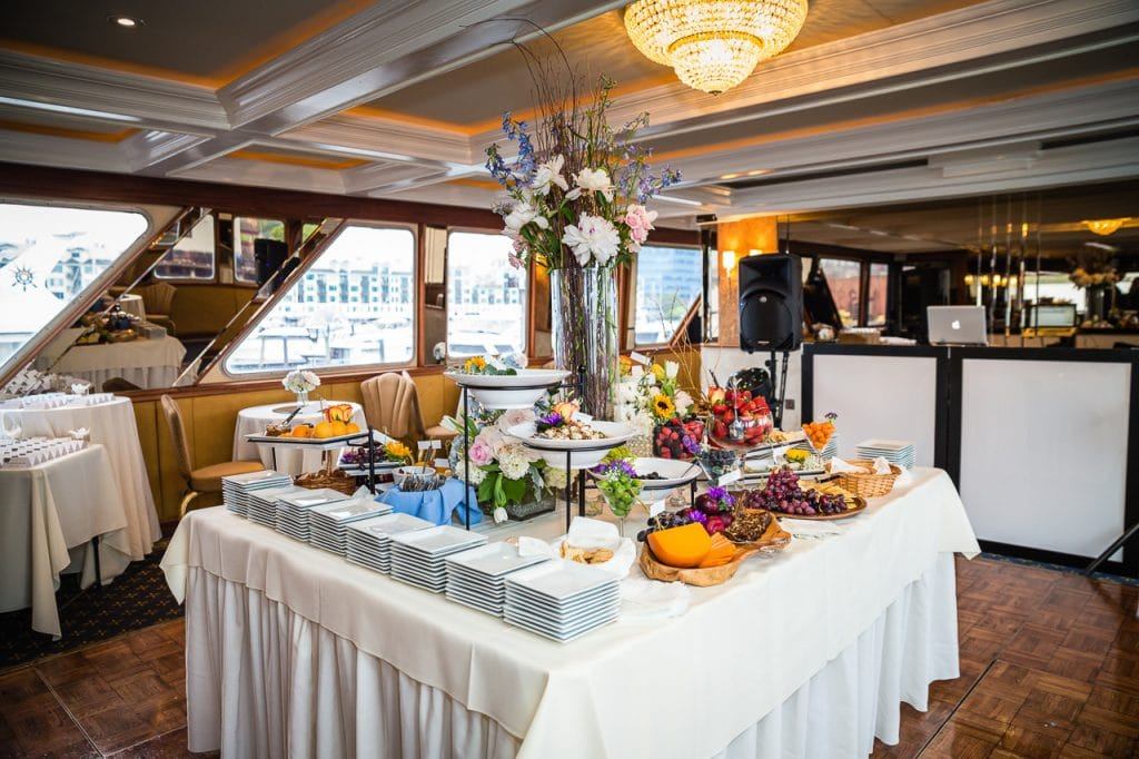 wedding on a yacht nyc catering set up